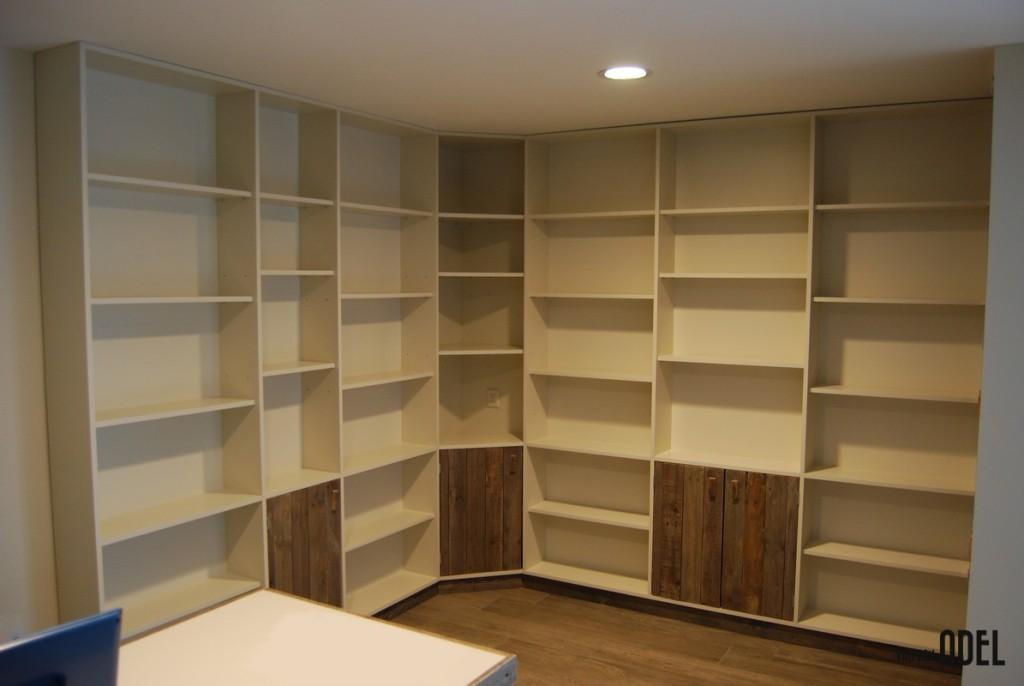Bekend Boekenkastopstelling u-vorm met bureau oud hout - van den Adel @CT33