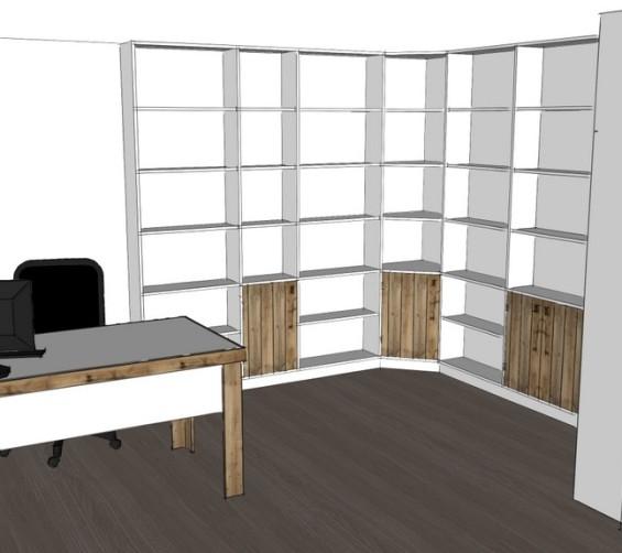 Boekenkastopstelling u-vorm met bureau oud hout 3d-1