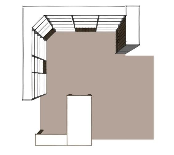 Boekenkastopstelling u-vorm met bureau oud hout 3d-3