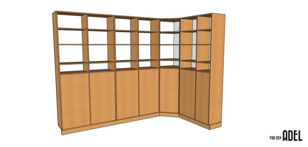 Boekenkast van meubelpanelen in een hoekopstelling - van den Adel ...