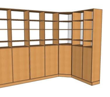 Boekenkast van meubelpanelen hoekopstelling 07 schets