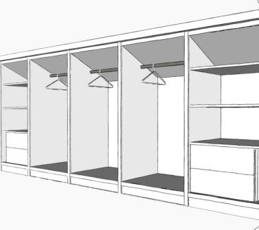 Deels verrijdbare garderobekast onder schuin dak zolder sloophout deuren white-wash schets1