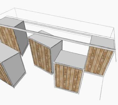 Deels verrijdbare garderobekast onder schuin dak zolder sloophout deuren white-wash schets2