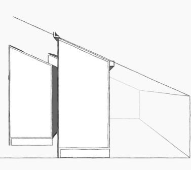 Deels verrijdbare garderobekast onder schuin dak zolder sloophout deuren white-wash schets3