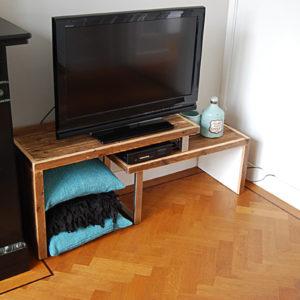 Tv meubel 2 segmenten wit met sloophout 02
