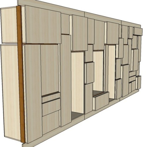 Wandkast populieren multiplex keuken en berging 650cm 23 3d tekening