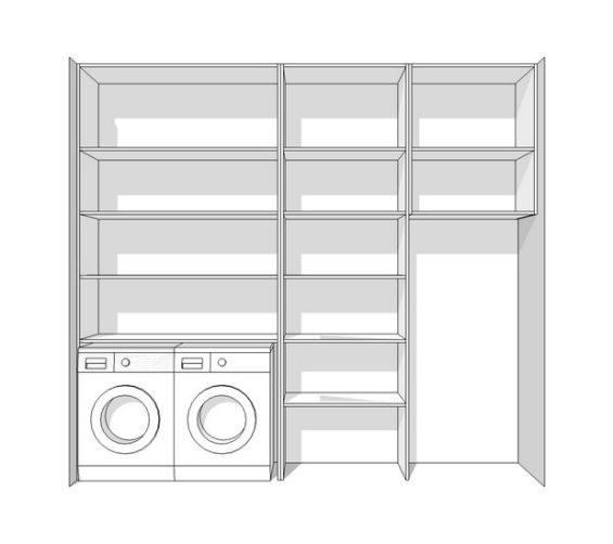Bijkeuken kast rondom wasmachine droger softclose schuifdeuren sch2