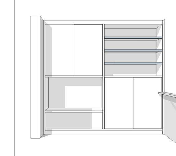 Speelgoedkast op maat met tv ruimte schuifdeuren push-to-open lade wit schets1