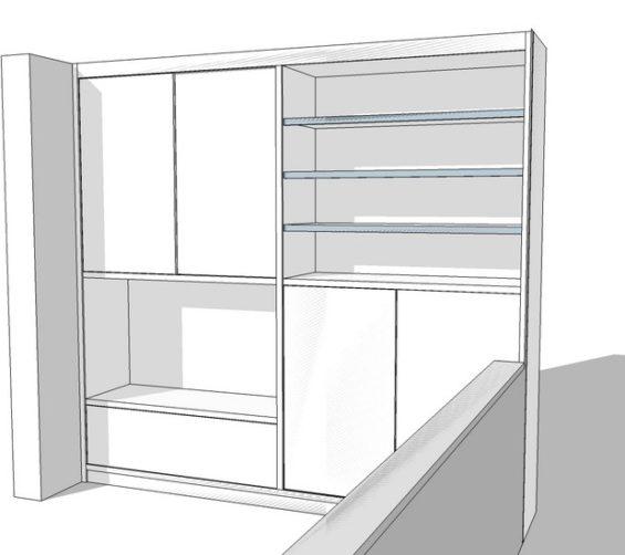 Speelgoedkast op maat met tv ruimte schuifdeuren push-to-open lade wit schets2