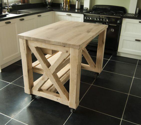 Werktafel keuken massief eiken verouderd incl softclose laden kruispoot 11