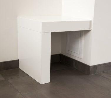 Wit strak tv meubel op maat met dik bovenblad incl push-to-open laden 05