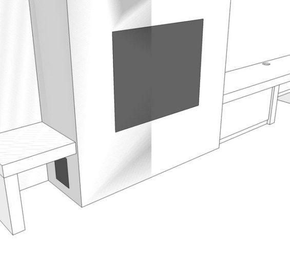 Wit strak tv meubel op maat met dik bovenblad incl push-to-open laden 06