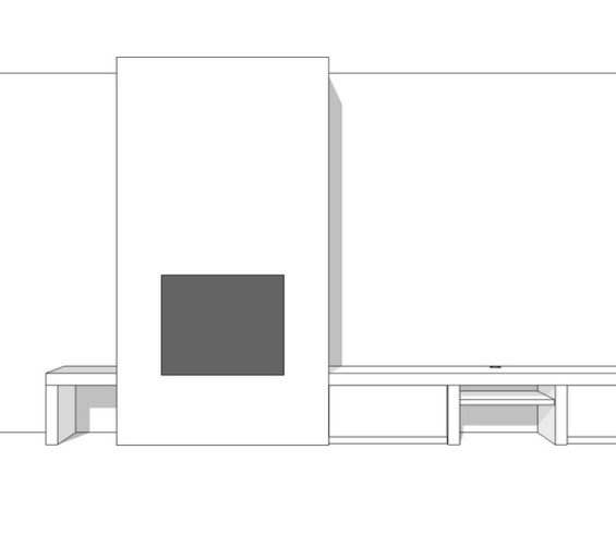 Wit strak tv meubel op maat met dik bovenblad incl push-to-open laden 07