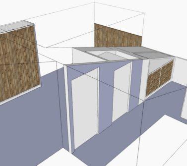 Kinderkamer met sloophout kasten en lambrisering schets1