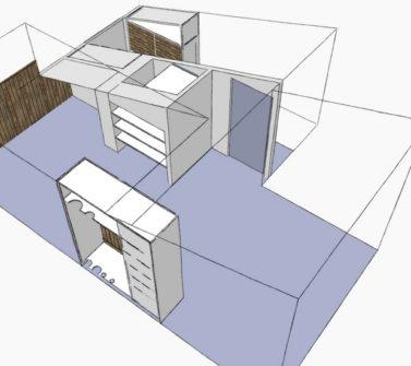 Kinderkamer met sloophout kasten en lambrisering schets2