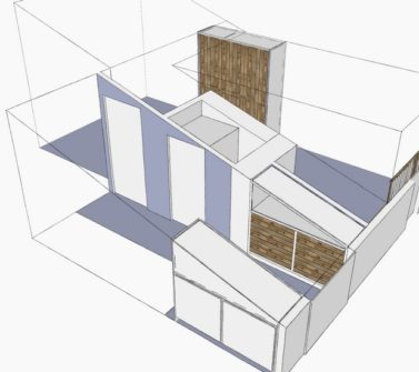Kinderkamer met sloophout kasten en lambrisering schets3