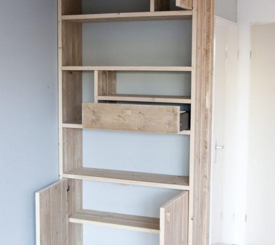Steigerhout open vakkenkast met softclose lade en deuren 03