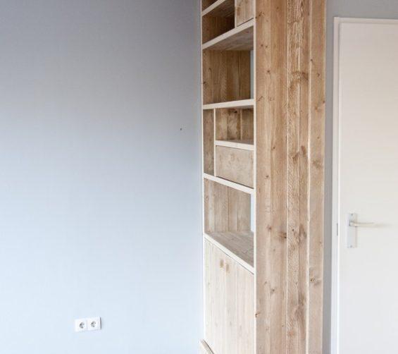 Steigerhout open vakkenkast met softclose lade en deuren 04