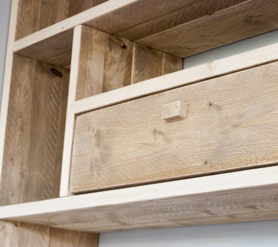 Steigerhout open vakkenkast met softclose lade en deuren 05
