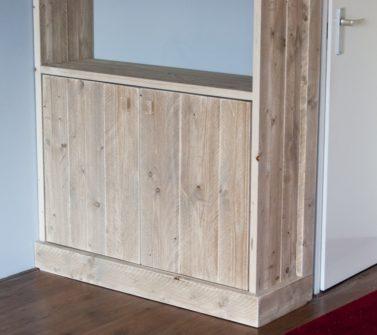 Steigerhout open vakkenkast met softclose lade en deuren 06