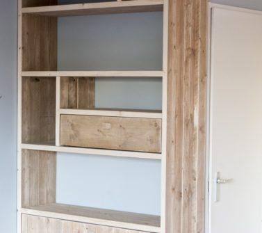 Steigerhout open vakkenkast met softclose lade en deuren 07