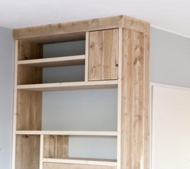 Steigerhout open vakkenkast met softclose lade en deuren 08