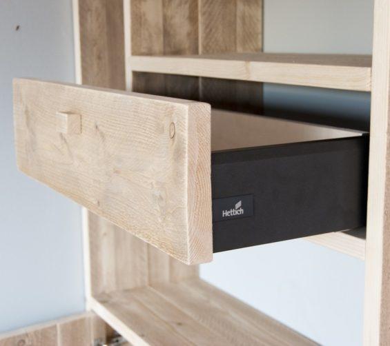 Steigerhout open vakkenkast met softclose lade en deuren 12