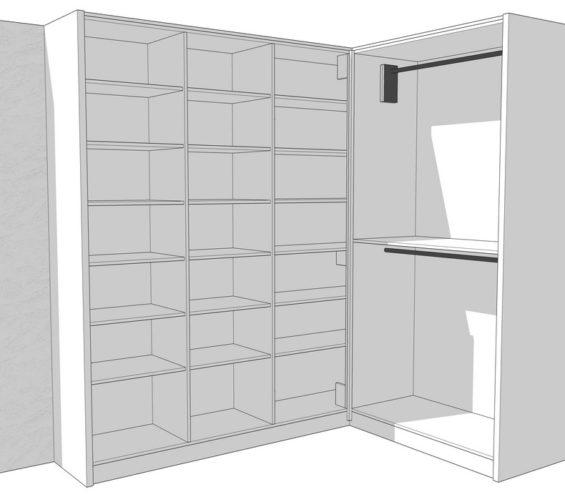 Maatwerk garderobekast met nieuwe witte louvredeuren incl roedelift en push-to-open 03