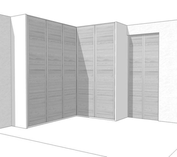 Maatwerk garderobekast met nieuwe witte louvredeuren incl roedelift en push-to-open 04